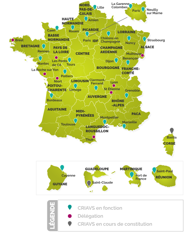 Carte de France des CRIAVS